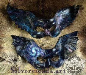Galaxy Bat and Raven wing leather masks by SilverCicada