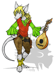 ((Commission)) Helena the Burmecian bard by Franken-Fish