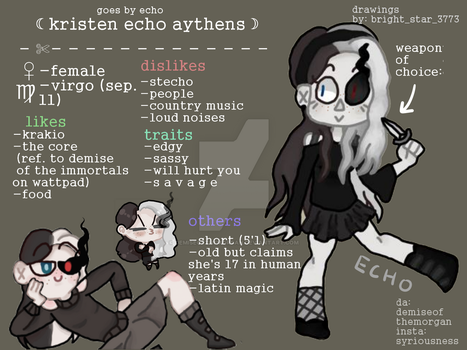 Kristen 'Echo' Aythens [ref] by demiseofthemorgan