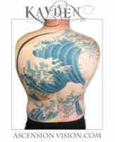 The Great Wave backpiece by kayden7