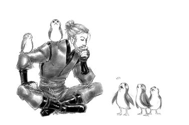 A Sith And 5 Porgs And A Very Important Discussion by croaky