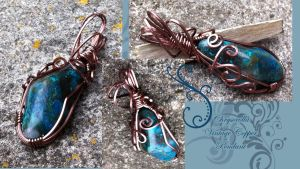Chrysocolla Bronze Pendant by tanyquil