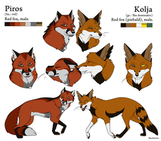 Reference Sheet - Piros and Kolja by BlueHunter