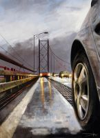 Cross the bridge painting by Oission