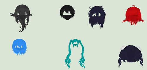 Yandere simulator TDA Hair Pack by Ni-chyP