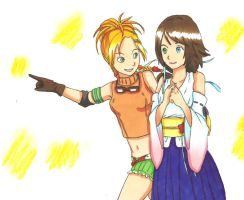 Yuna and Rikku by ClaireRoses