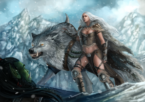 Serah and Frostwolf Commission by x-Celebril-x