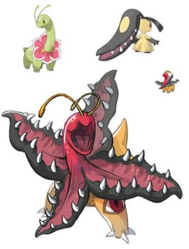 A cross between Meganium and Mawile, Mawanium! by GhostMaster8