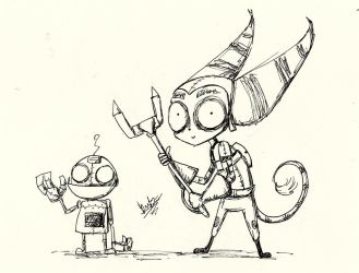 Ratchet and Clank in Tim Burton Style by SpaceSheep-Art