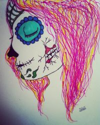 sugar skull girl by ToSeeAButterfly