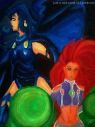 Raven and Starfire Oleo by CeeliWorld
