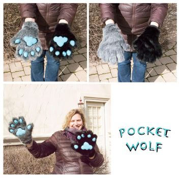 Grey Black Hand paws by PocketWolfCollection