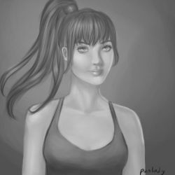 Black and white portrait by punlady