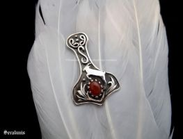 'Thor's hammer with goat', sterling silver pendant by seralune
