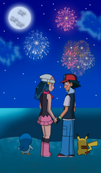 Pearlshipping - Fireworks in the beach by silver-Z