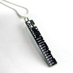 Black Circuit Board Long Rectangle Necklace by Techcycle