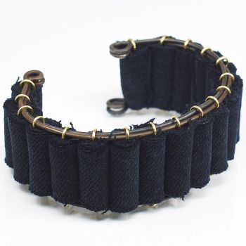 Black Denim Bracelet- Upcycled Fabric Jewelry by Tanith-Rohe