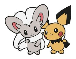 Cinccino and Pichu by Elenwae