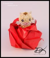 Cat in Rose  - 3D Origami - by Delinlea
