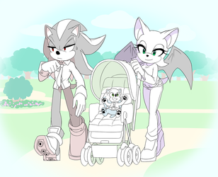Shadow, Rouge and baby Sonic by Myly14