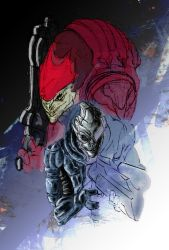 Garrus and Wrex semi-coloured by Creid-X