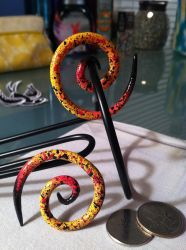 4G/5MM Handpainted Speckle Earrings by MinorTechnicality