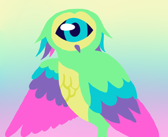 Rainbow Cyclops Owl by P-Paradox