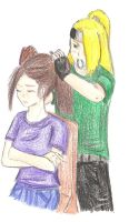Deidara is fixing Leah's hair by Spirit-Seer-of-Water