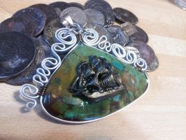Pirate Ship in indian turquoise by BacktoEarthCreations