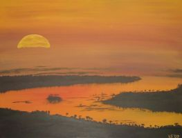 Sunset over River Nile by Bhelia