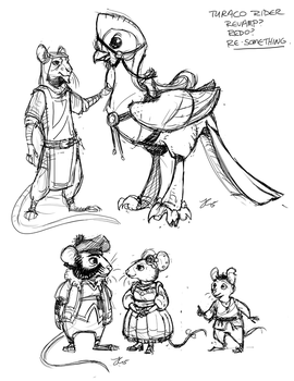 Turaco Rider Revisited character sketches by OnyxSerpent