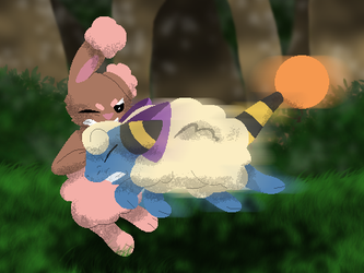 Shiny Buneary Battle by millemusen