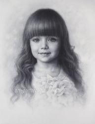 Drawing of a Little Beautiful Anastasia Knyazeva by Drawing-Portraits