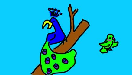 Cartoony Peacock and Parrot Bamboo Tablet Sketch by puffugu