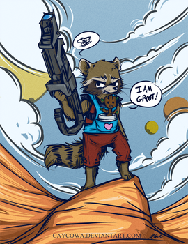 GotG - Rocket Raccoon and Baby Groot by caycowa