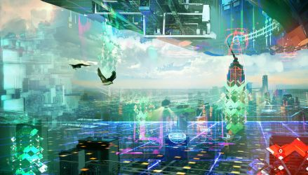 Cyber Space New York by SamTheConceptArtist