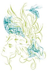 Illustration - Line triptych - Forest Daydream by TheLipGlossary