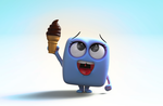 Zbrush Doodle: Day 1281 - Cube with Ice Cream Cone by UnexpectedToy