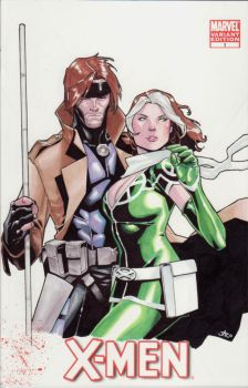Rogue and Gambit cover by lazeedog