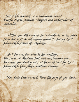 The Accounts of a Demented Madwoman Page 1 by The-Serene-Mage