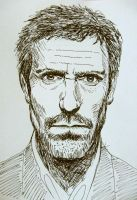 Portrait of Dr House - ink drawing by gosia-jasklowska