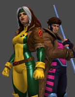 Rogue and Gambit by thePWA