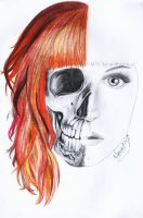 HALF SKULL FACE DRAWING - HALF HAIR COLORED by naawaal