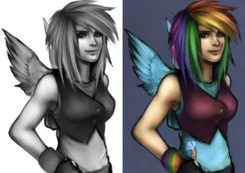 Human Rainbow Dash by RizCifra