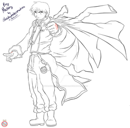 FMA: Roy Mustang Lineart by shadowhatesomochao