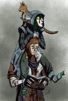 Critical Role: Caleb and Nott + Frumpkin by LizDoodlez