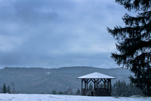 Mountain Gazebo in Winter by Hrasulee