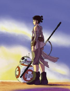 Rey  and BB-8 in Ghibli Style by GeovaneMonteiro
