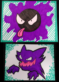 Gastly + Haunter sketch cards by Russell-LeCroy