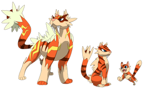The fire type starters by DeeJaysArt1993